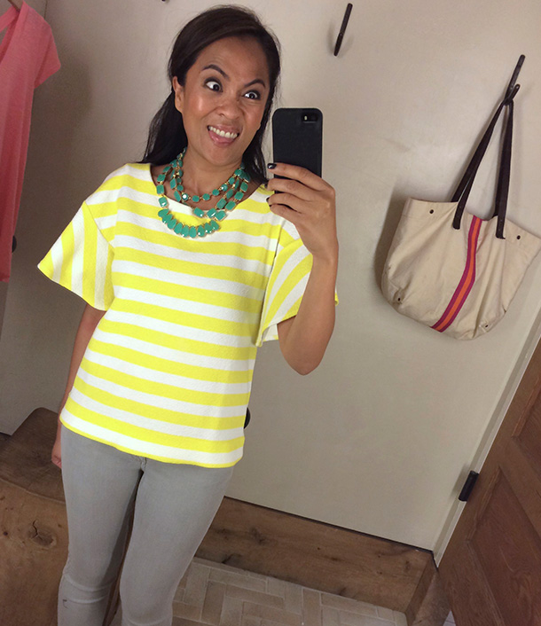 Anthropologie white and yellow striped top