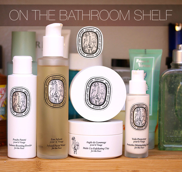 On the bathroom shelf, Diptyque Skin Care