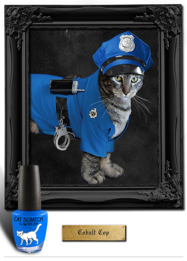 Tabs the Cat for Cobalt Cop Claw Polish