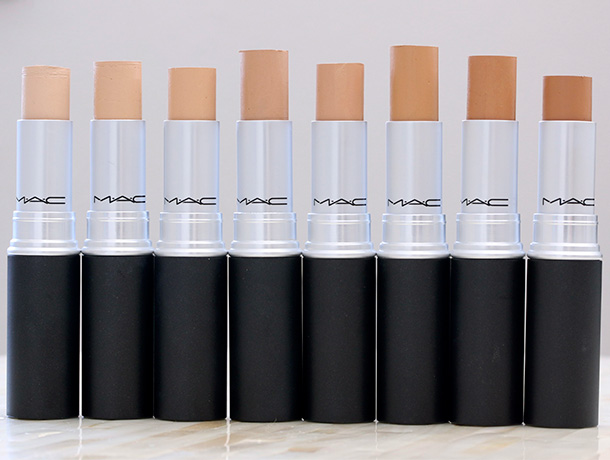MAC Matchmaster Concealers from the left: 1.0, 1.5, 2.0, 3.0, 4.0, 5.0, 6.0 and 7.0