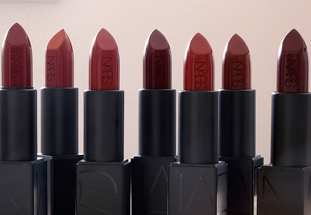 NARS Audacious Lipsticks from the left: Charlotte, Leslie, Olivia, Bette, Sandra, Deborah and Ingrid