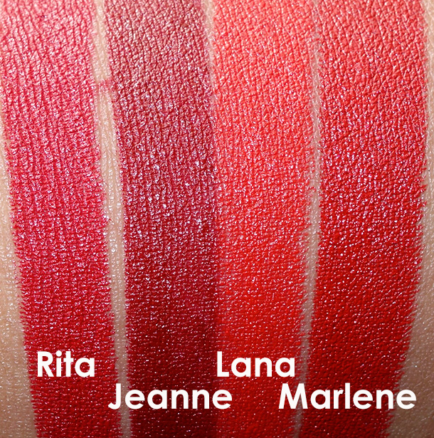 NARS Audacious Lipstick Swatches from the left: Rita, Jeanne, Lana and Marlene