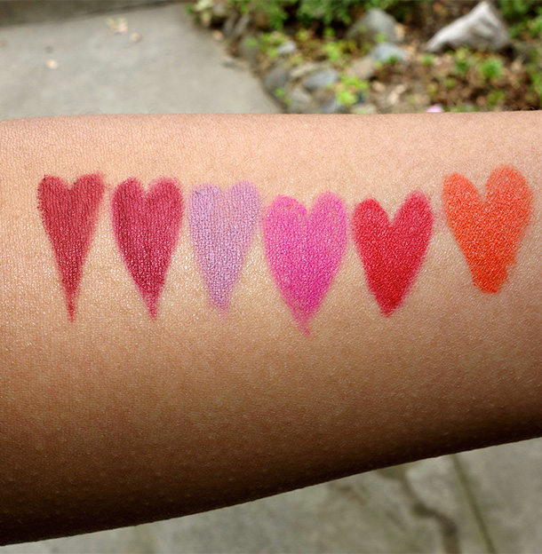 NARS Velvet Lip Liner Swatches from the left: Lanikai, Belle Mare, El Agua, Costa Smeralda, Nihiwatu and Playa Dorado