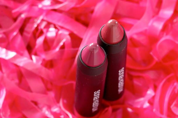 Sonia Kashuk Lustrous Shine Lip Crayons Orchid (left) and Peony (right)