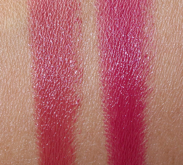 Sonia Kashuk Lustrous Shine Lip Crayon swatches in Peony (left) and Orchid (right)