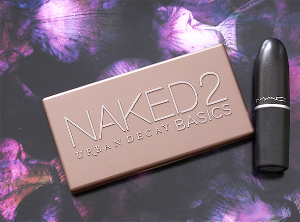 Urban Decay Naked2 Basics Palette with a MAC Lipstick for scale