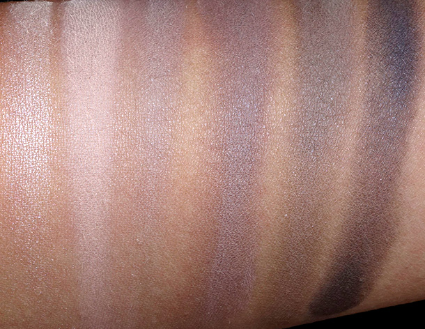 Urban Decay Naked2 Basics Palette swatches from the left: Skimp, Stark, Frisk, Cover, Primal and Undone