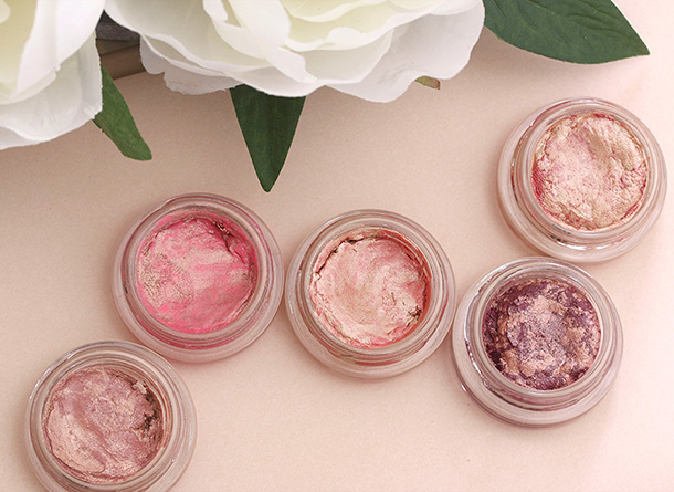 BECCA Beach Tint Shimmer Souffles from the left: Fig/Opal, Lychee/Opal, Guava/Moonstone, Raspberry/Opal and Watermelon/Moonstone