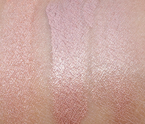 BECCA Swatches from the left: Shimmering Skin Perfector Pressed in Rose Gold, Shimmering Skin Perfector in Rose Gold (unblended) and Shimmering Skin Perfector in Rose Gold (blended)