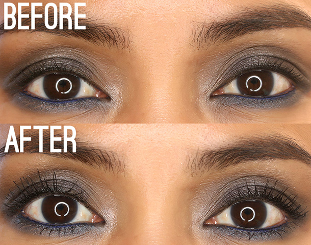 Clé de Peau Beauté Perfect Lash Mascara, Before (top) and after (bottom) two coats