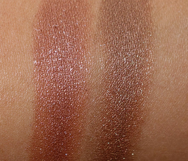Covergirl Queen Collection Dazzle Q185 (left) and MAC Mulch (right)