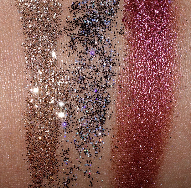 MAC Rocky Horror Swatches from the left: Glitter in Gold, Glitter in 3D Black and Pigment in It's Not Easy Having a Good Time