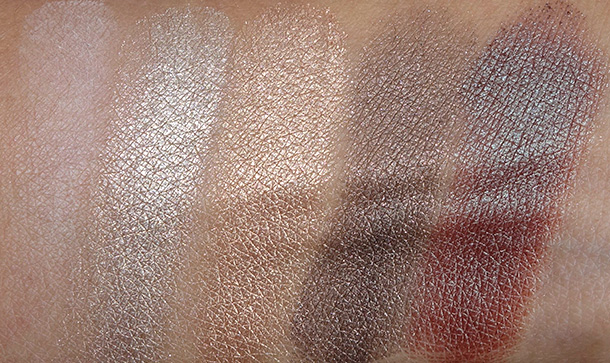 Too Faced Everything Nice Set swatches from the left: Heaven, Shiny Happy, Honey Pot, Don't Settle and Girly