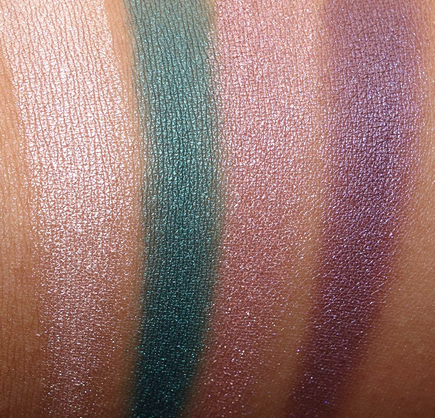 Urban Decay Shadow Box Swatches from the left: Sin, Indo (new), Bordello and Tornado