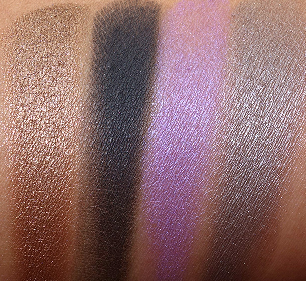 Urban Decay Shadow Box swatches from the left: Smog, Blackout, Flash and Mushroom
