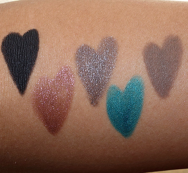 Urban Decay Ten Swatches from the left: Perversion, Glitter Rock, Moonspoon, Vacancy and Faint