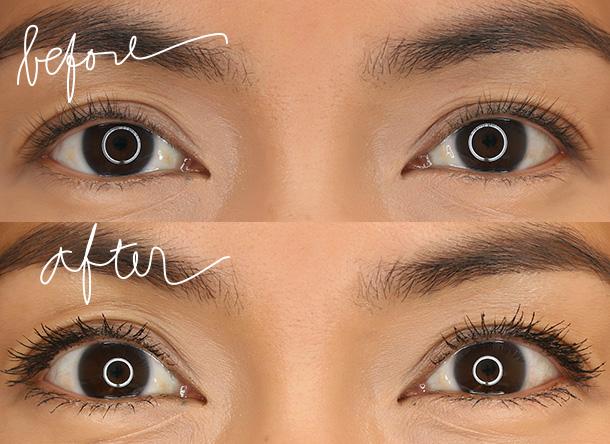 Marc Jacobs Beauty O!Mega Lash Volumizing Mascara before and after one coat