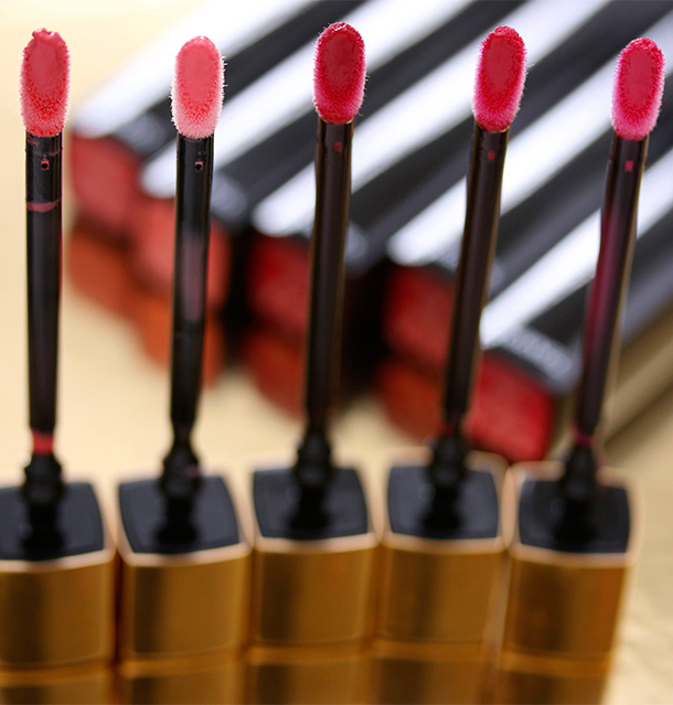 Chanel Rouge Allure Gloss wands from the left: 13 Affriolant, 15 Sensible, 17 Supreme, 18 Seduction and 19 Pirate