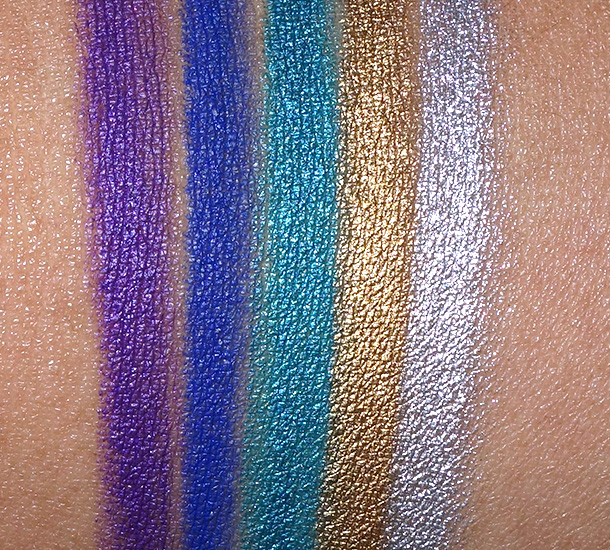 L'Oreal Infallible Silkissime Eyeliner swatches from the left: Pure Purple, Cobalt Blue, True Teal, Gold and Silver