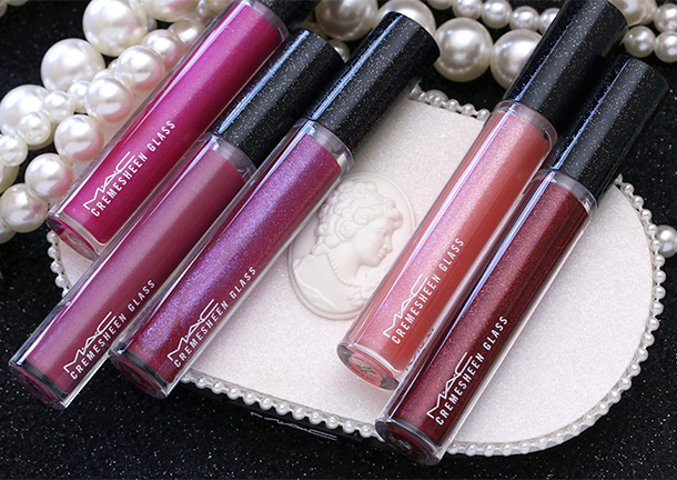 MAC Heirloom Mix Cremesheen Glasses from the left: Ceremonial, Seeking Adoration, Social Season, Romantic Overture and Courting Chic