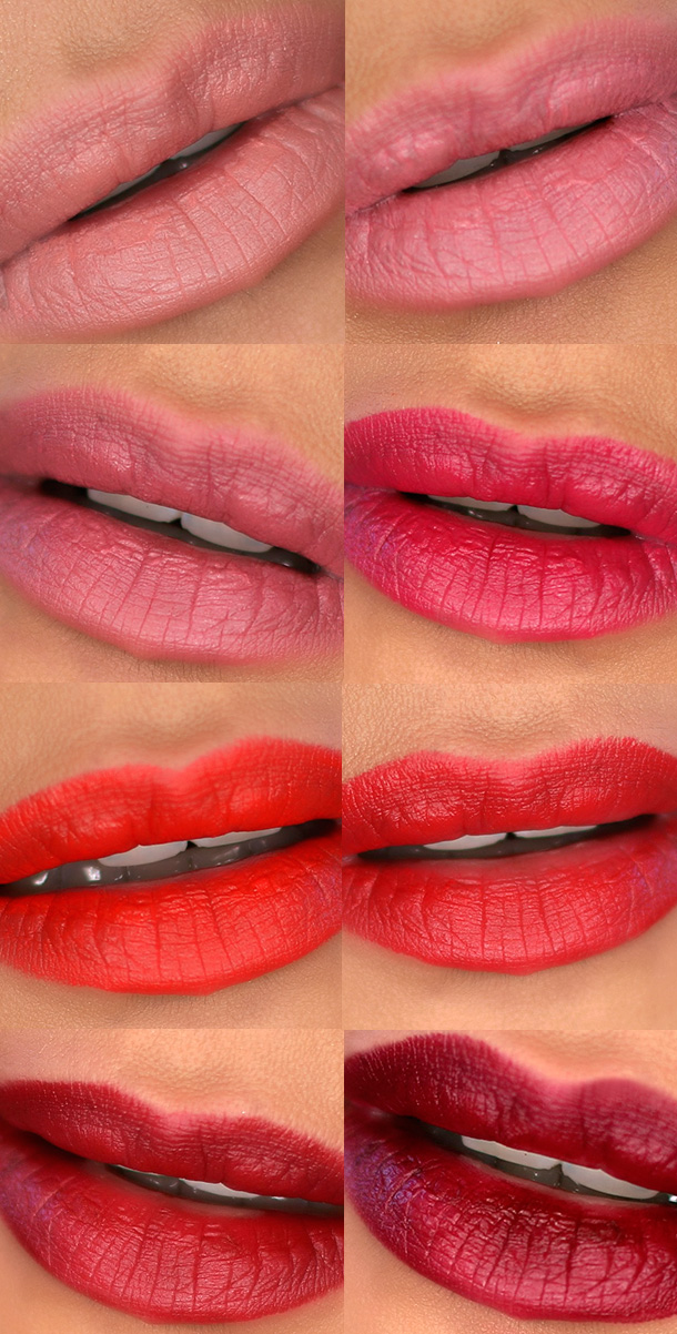 Tom Ford Lip Color Matte Swatches, Top row: First Time (left) and Pink Tease, (right); second row: Pussycat and Plum Lush; third row: Flame and Ruby Rush; bottom row: Sweet Cherry and Black Dahlia