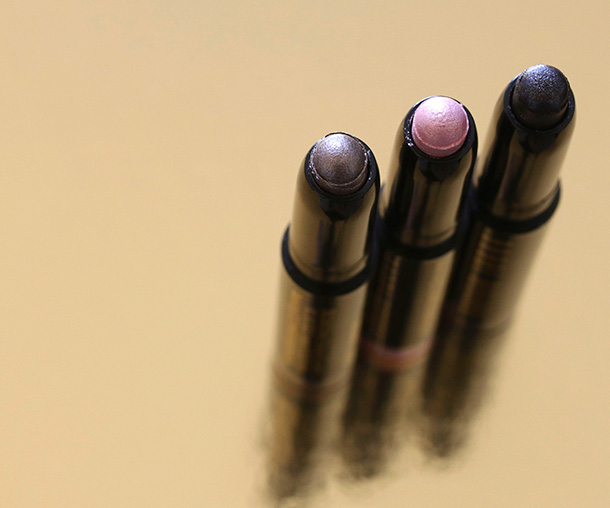 Bobbi Brown Mini Long-Wear Cream Shadow Stick Trio from the left: Smookey Topaz, Pink Sparkle and Espresso Bean
