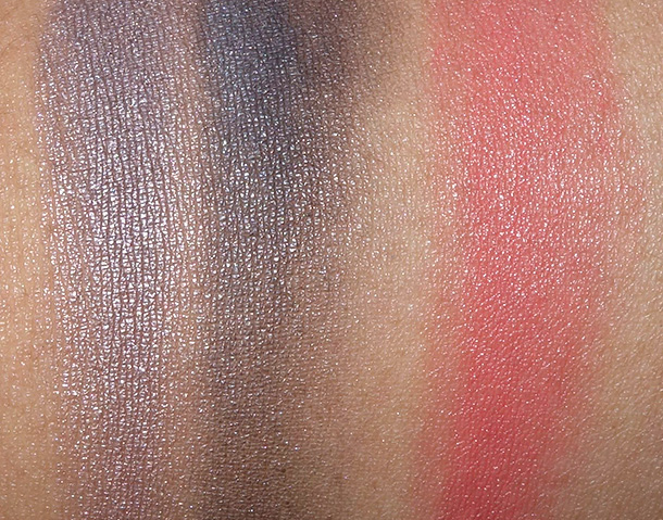 Cinder Eye Shadow Duo (far left and center) and Cream Colour Base in Coral Lumineux (right)