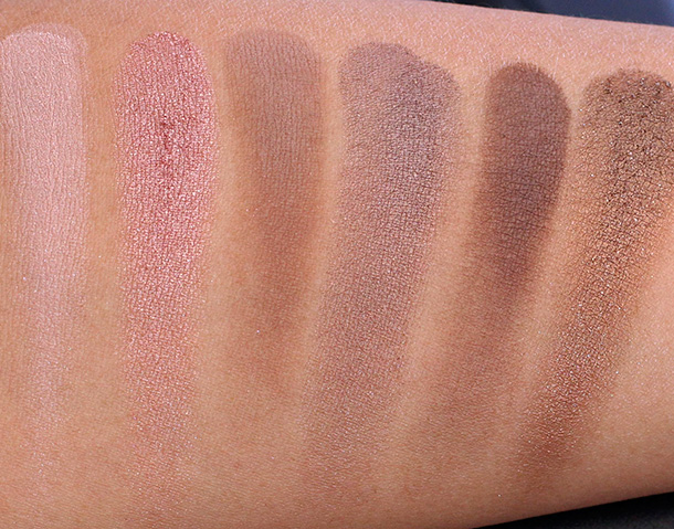 Urban Decay Naked On the Run Eyeshadow swatches from the left: 5050, Dive, Fix, Resist, Dare and Stun
