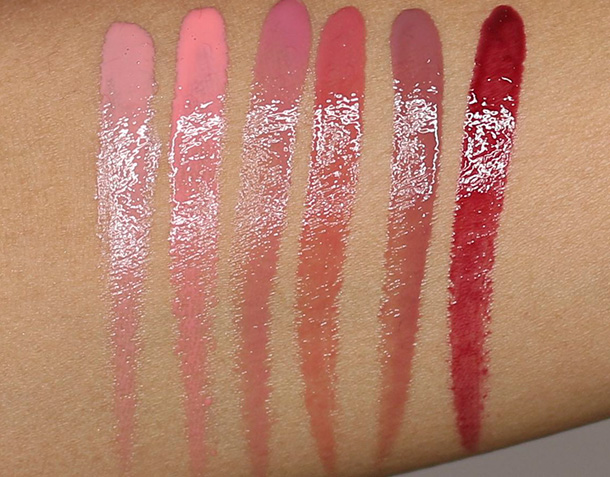 bareMinerals Lip Spectacular swatches from the left: Forbidden Nude, Juicy Mango, Sassy Sorbet, Must-Have Pink, Flirty Mauve and Moody Berry