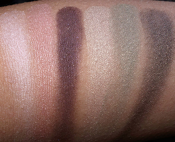 bareMinerals Ready Convertible Eyeshadow Palette Swatches from the left: Hard to Get, Fantasy, Stilleto, Chart Topper, Admire and Couture