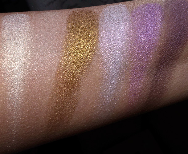 bareMinerals Ready Convertible Eyeshadow Palette Swatches From the left: Pizzazz, Bewilder, Connoisseur, Shiver, Elixir and Mystify