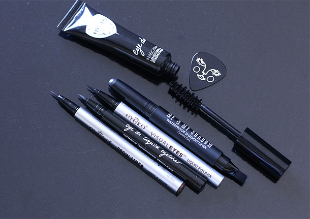 Eyeko products from the left: Brow liner, Eye Do Liquid Eyeliner, Visual Eyes Liquid Eyeliner, Me & My Shadow in Charcoal and Eye Do Mascara