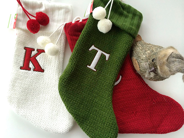 Monogrammed Christmas Stockings from Target, $13 each