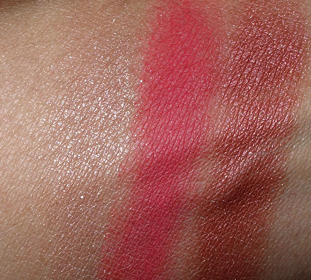 MAC Red Red Red Eye Shadow Swatches from the left: Give Me FIre, Strike While Haute and Red Alert