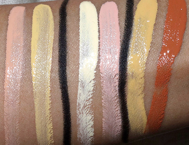 MAC Studio Finish Conceal Correct Duos from top to bottom: Mid Peach/Mid Yellow, Pale Yellow/Pale Pink and Rich Yellow/Burnt Coral