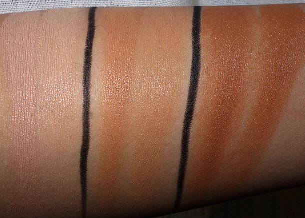 MAC Studio Finish Concealer Duos from the left: NW30/NC35, NW40/NC45 and NW45/NC50