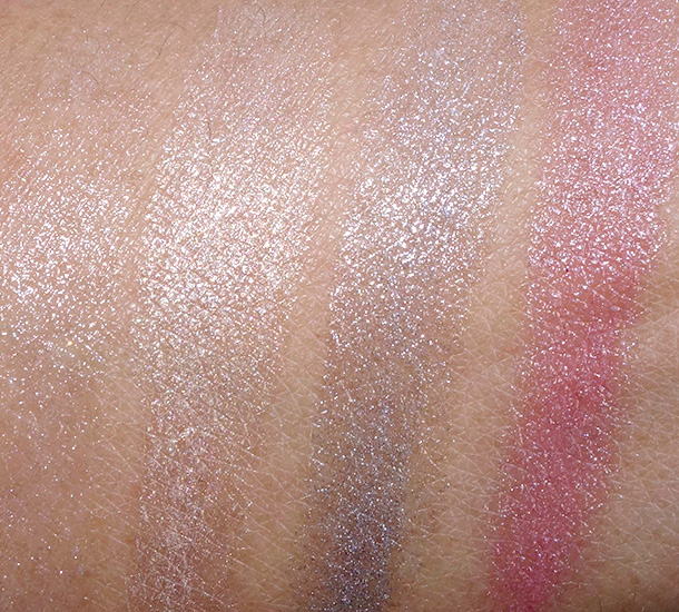 Dolce & Gabbana Shine Lipsticks from the left: Crystal 46, Shimmer Nude 28, Moon 69 and Angel Rose 167