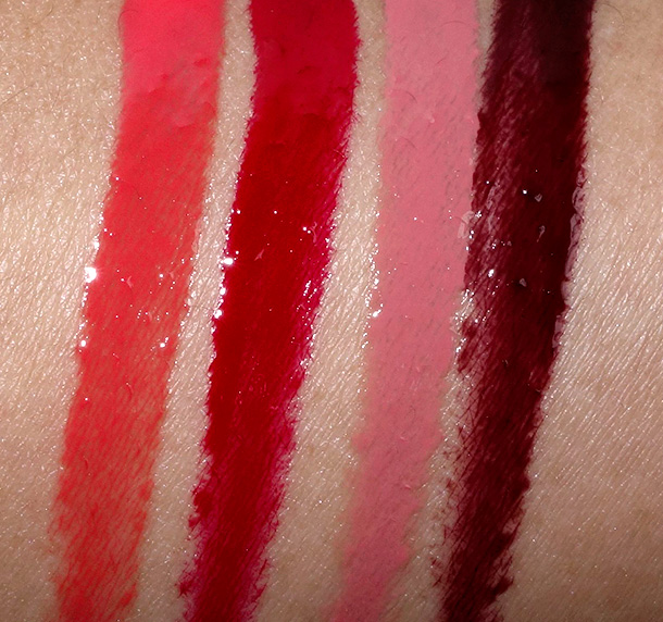 MAC Toledo Lipglass in in Barbeque, Opera, Oxblood and Sin