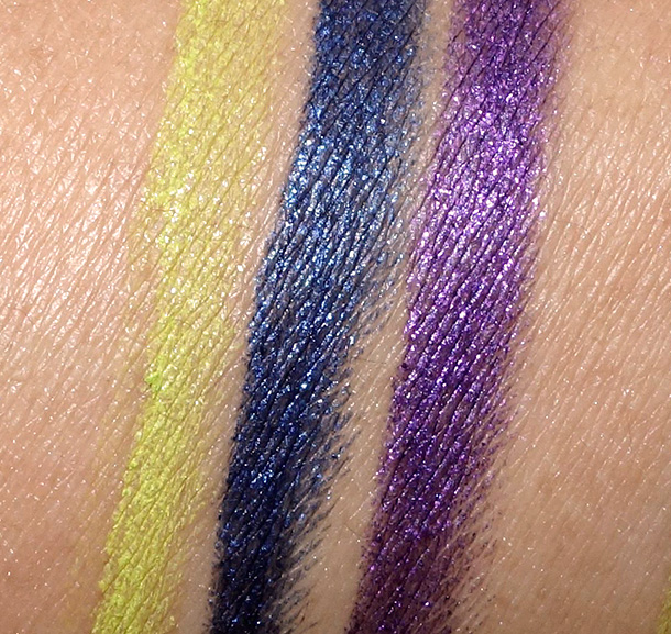 MAC Toledo Pearlglide Intense Swatches in Chlorafill, Petrol Blue and Designer Purple