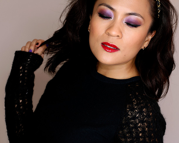 Wearing the MAC Toledo Violetwink Palette on my eyes, Blush Ombre in Ripe Peach on my cheeks and the Lipstick and Lipglass in Opera on my lips