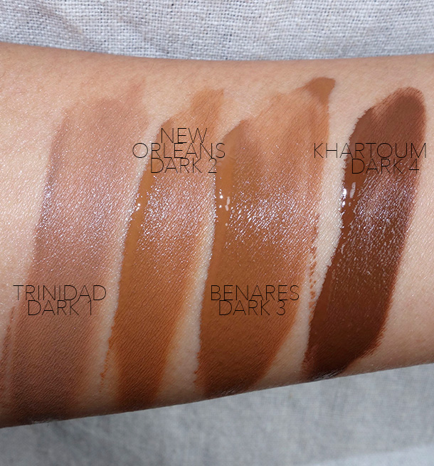 NARS All Day Luminous Weightless Foundation Swatches, Dark Shades