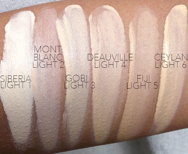 NARS All Day Luminous Weightless Foundation Swatches, Light Shades