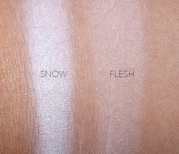 NARS Soft Velvet Loose Powder Swatches for the Fair shades from the left: Snow and Flesh