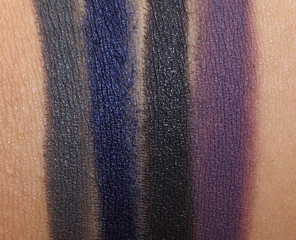 NARS Velvet Shadow Stick Swatches from the left: Reykjavick, Glenan, Flibuste and Nunavut