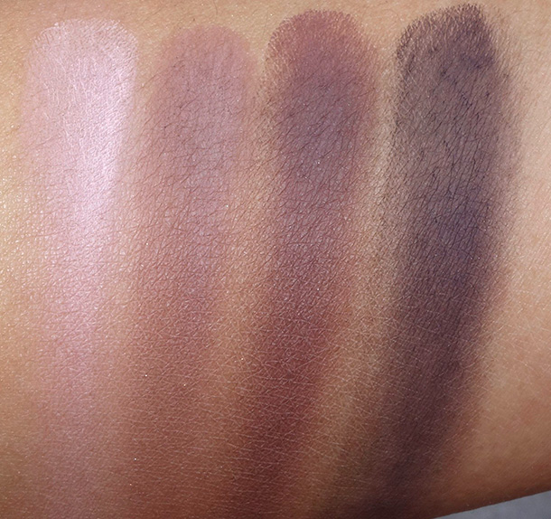 Tarte Tartelette Swatches from the left: Caregiver, Natural Beauty, Best Friend and Bombshell