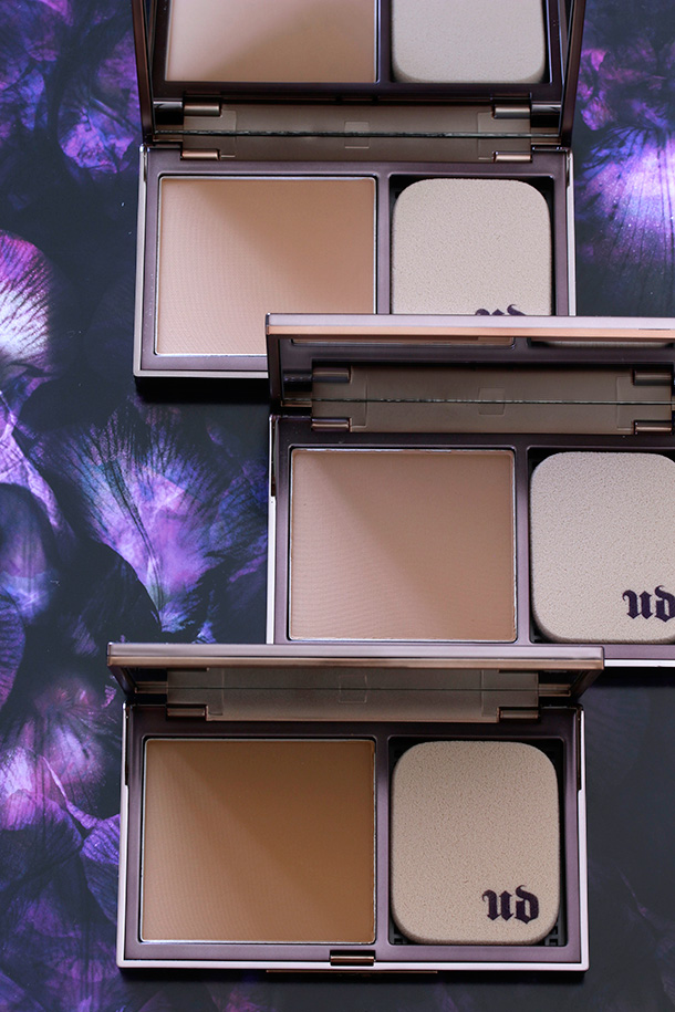 Urban Decay Naked Skin Ultra Definition Powder Foundations from the top to the bottom: Medium Neutral, Medium Warm and Medium Dark Golden