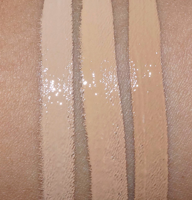 Urban Decay Naked Skin Weightless Complete Coverage Concealers from the left: Medium Light Neutral, Medium Neutral and Medium Dark Warm