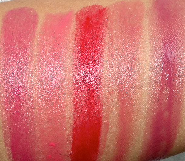 Urban Decay Sheer Revolution Lipstick Swatches from the left: Sheer Ladyflower, Sheer Streak, Sheer F-Bomb, Sheer Liar and Sheer Rapture