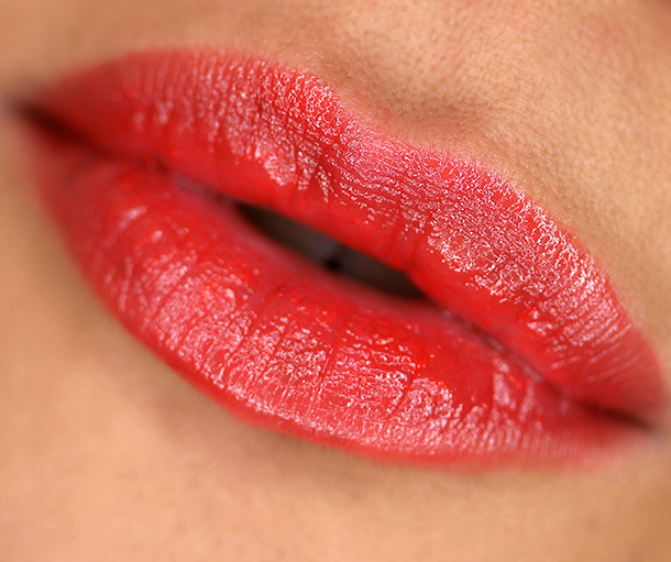 Urban Decay Sheer Revolution Lipstick in Sheer Slowburn, a sheer orangey red