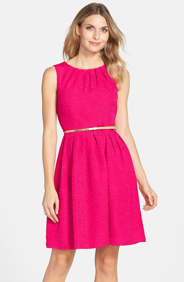 Ellen Tracy Bleted Herringbone Stretch Fit & Flare Dress